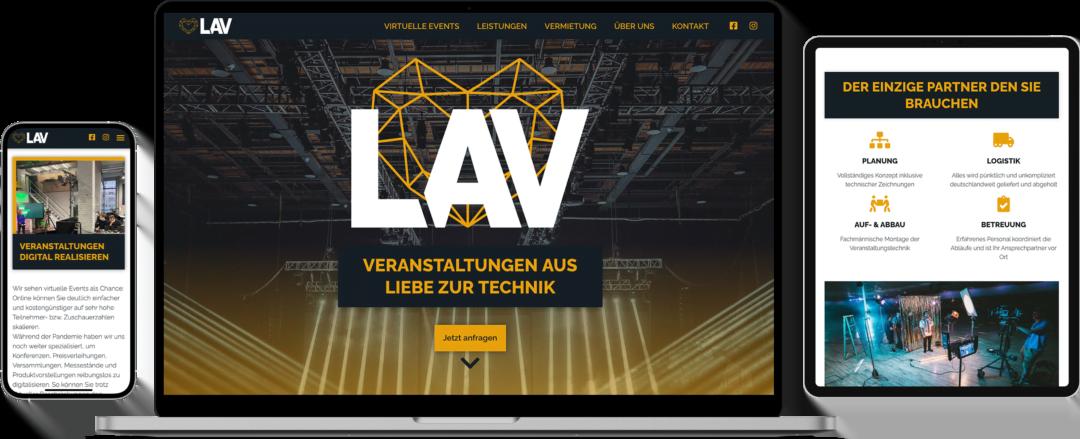 Verschiedene Geräte mit Ansichten der Unternehmenswebsite von LAV Veranstaltungstechnik