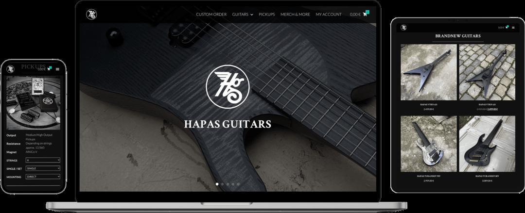 Verschiedene Geräte mit Ansichten des Webshop von Hapas Guitars